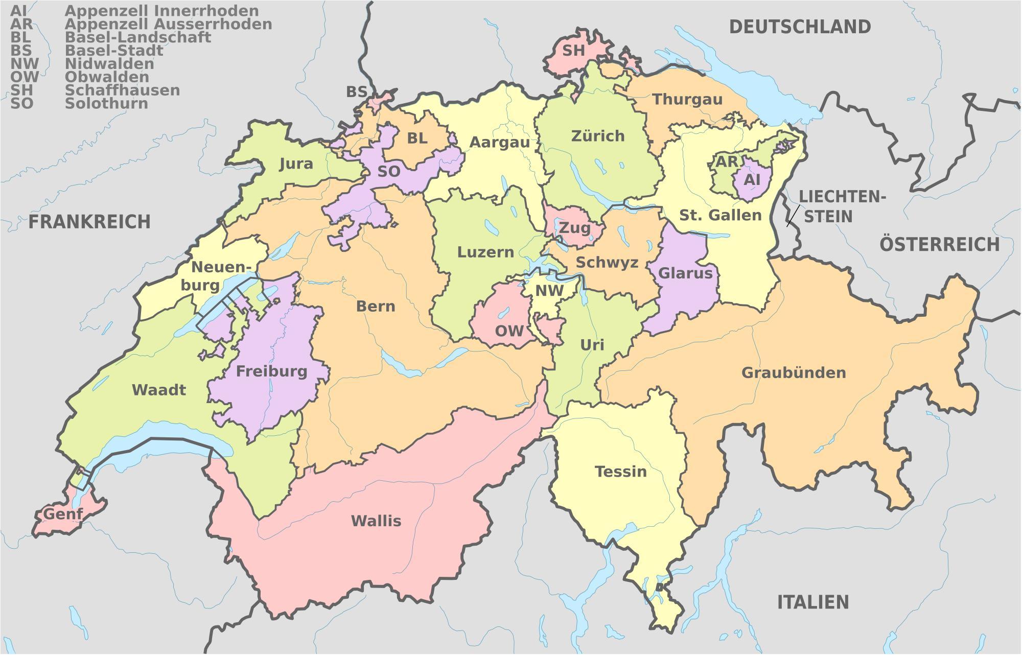 kort over schweiz