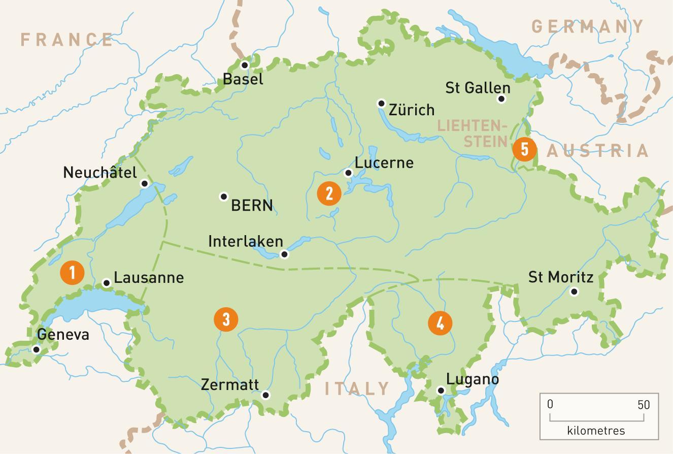 Kort Over Schweiz Schweiz I Kortet Det Vestlige Europa Europa