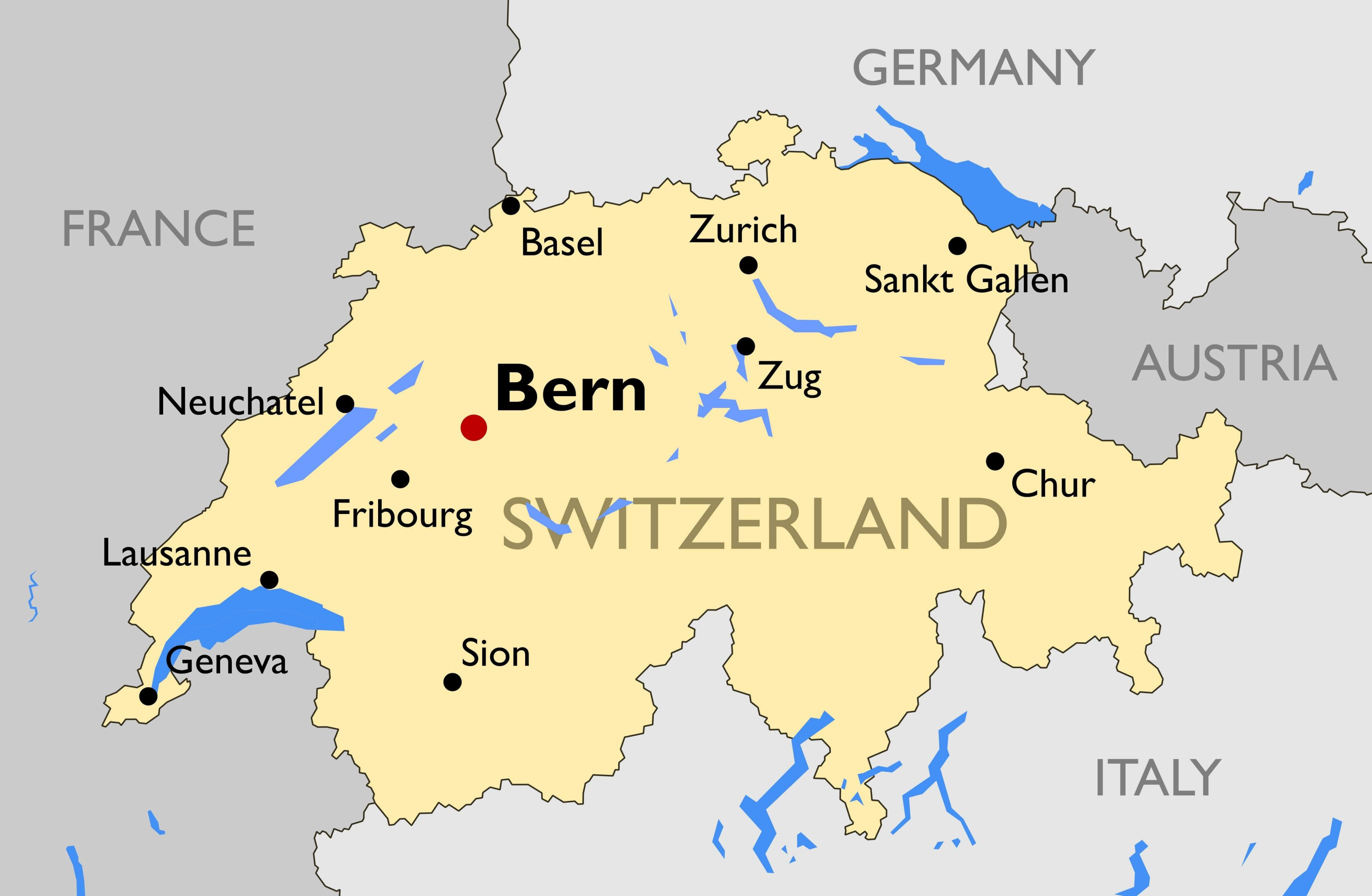 Schweiz Byer Kort Kort Over Schweiz Med Storre Byer Western