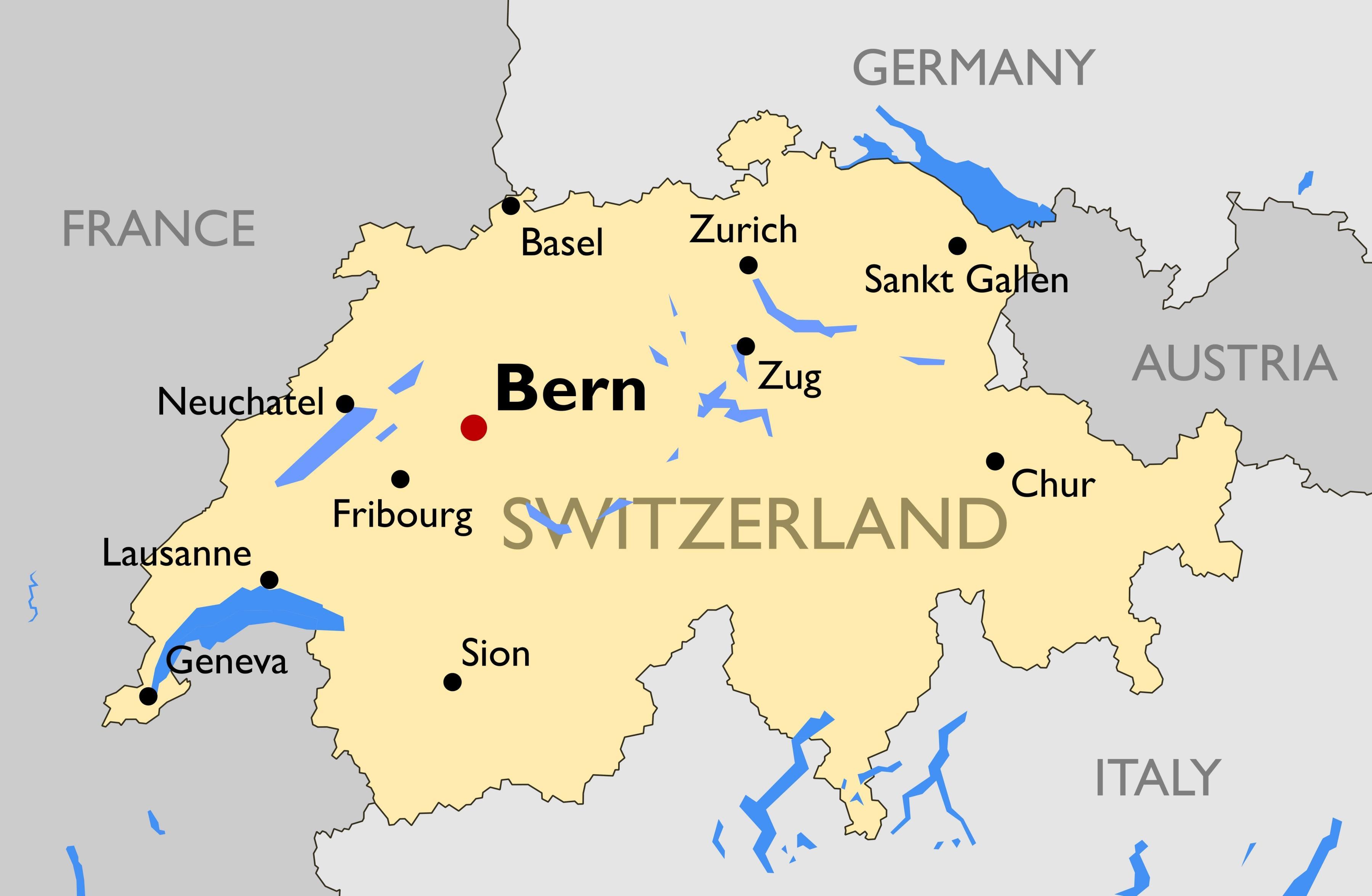 Turist Kort Over Schweiz Byer Kort Af Turist Kort Over Schweiz