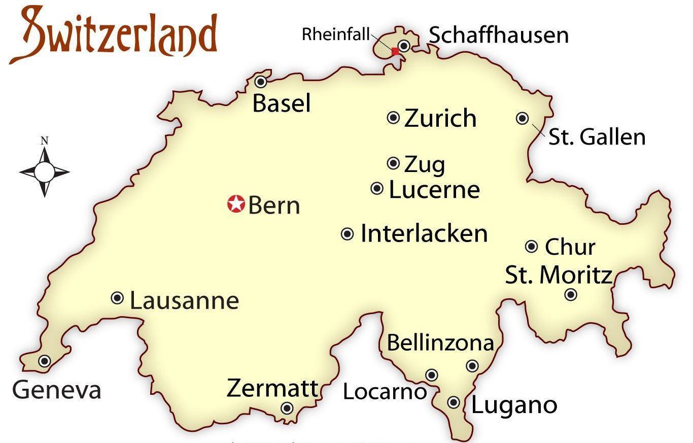 Zurich Schweiz Kort Zurich Schweiz Pa Kort Det Vestlige Europa