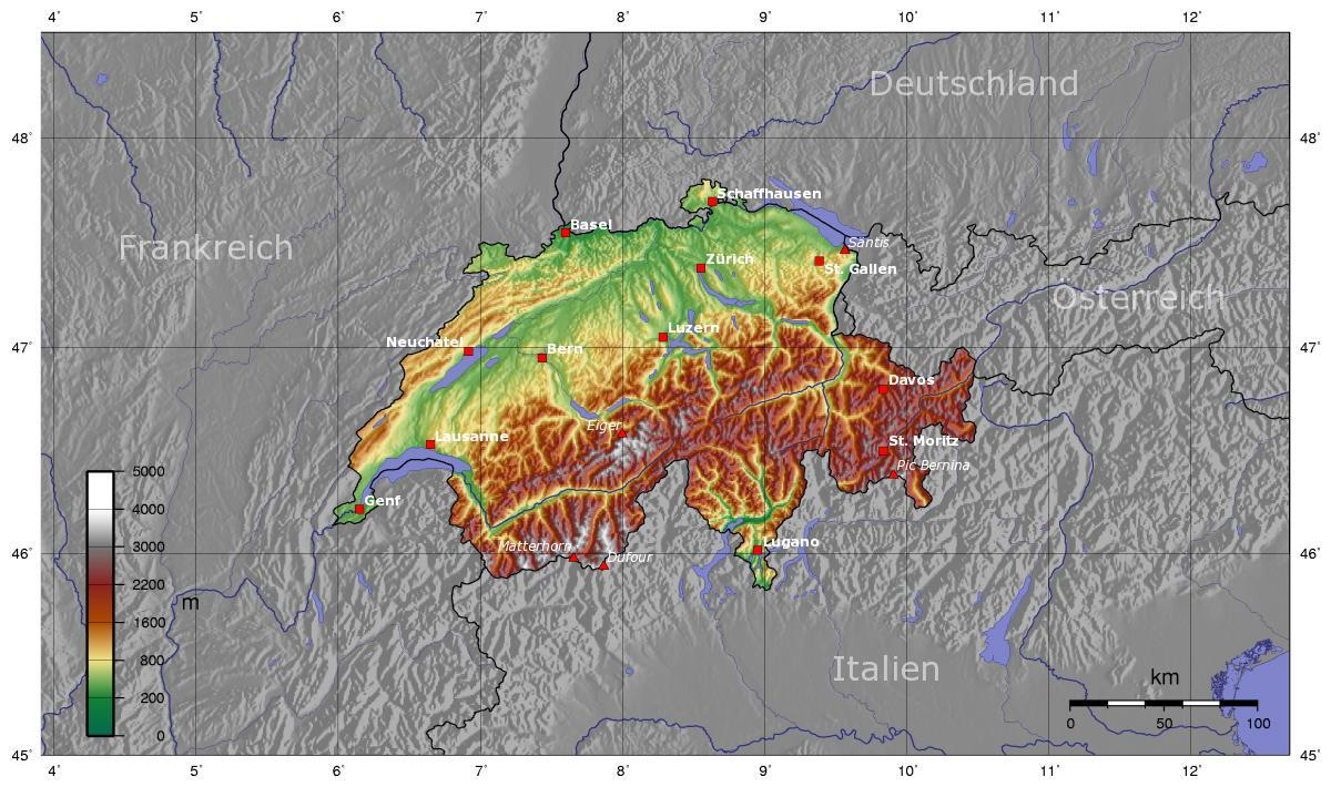 Schweiz Topografisk Kort Topo Kort Schweiz Western Europe