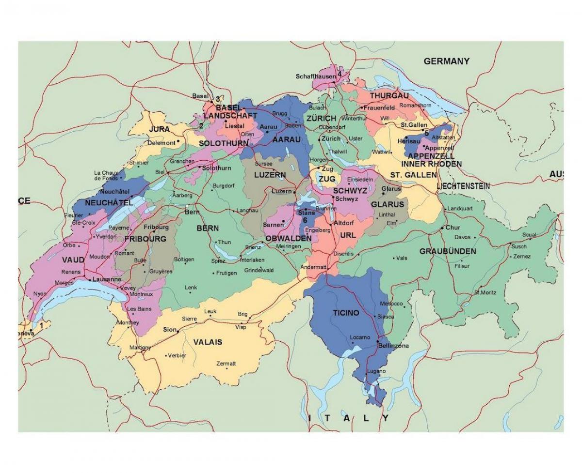 Vej Kort Over Schweiz Detaljeret Kort Over Schweiz Western